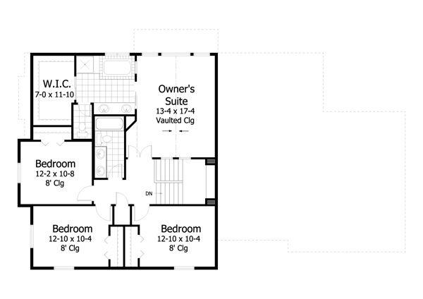 Farmhouse Floor Plan - Upper Floor Plan Plan #51-459