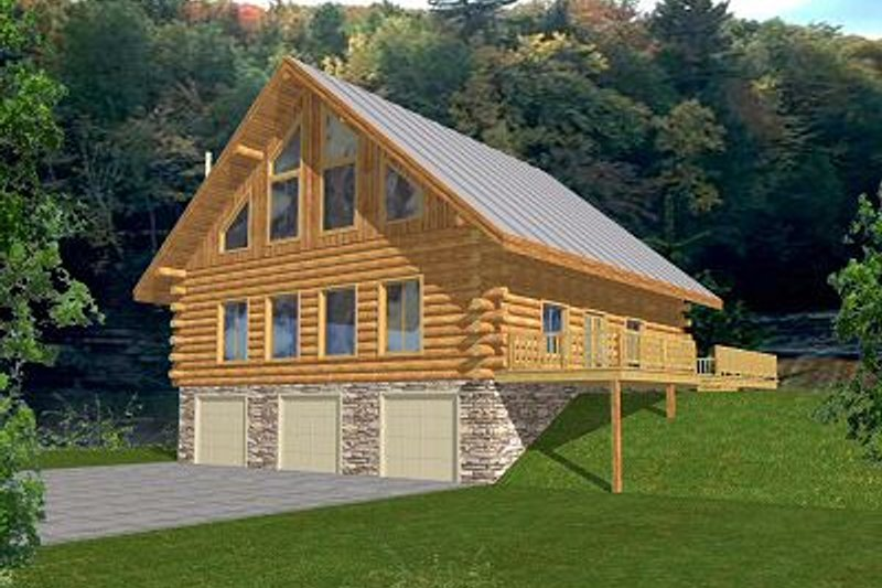 Home Plan - Log Exterior - Front Elevation Plan #117-501