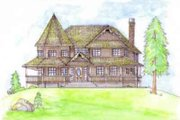 European Style House Plan - 3 Beds 4 Baths 3344 Sq/Ft Plan #117-185 Exterior - Front Elevation