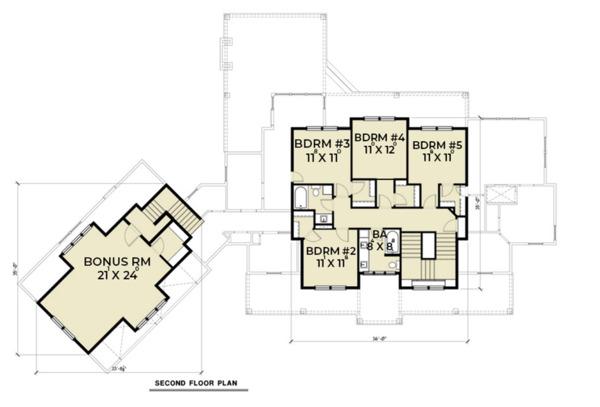 Farmhouse Floor Plan - Upper Floor Plan Plan #1070-23