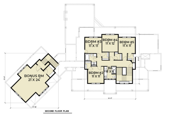 Farmhouse Floor Plan - Upper Floor Plan Plan #1070-23