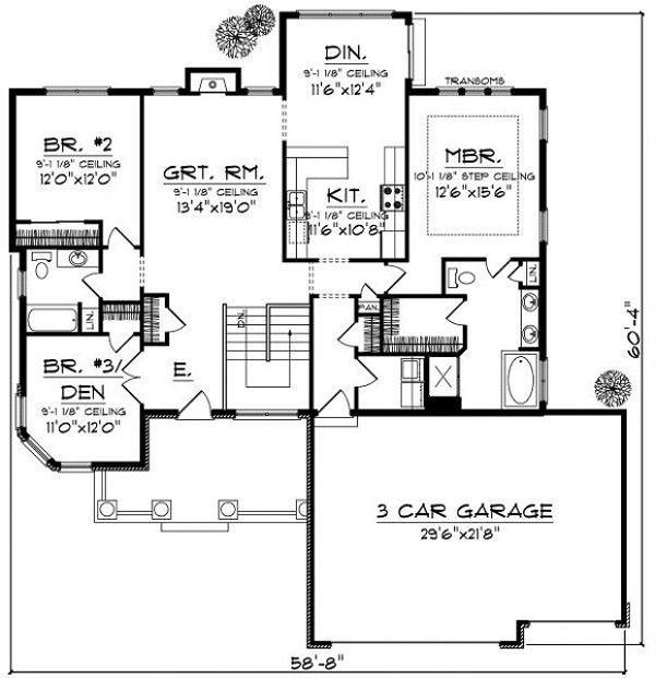 Traditional Floor Plan - Main Floor Plan Plan #70-863