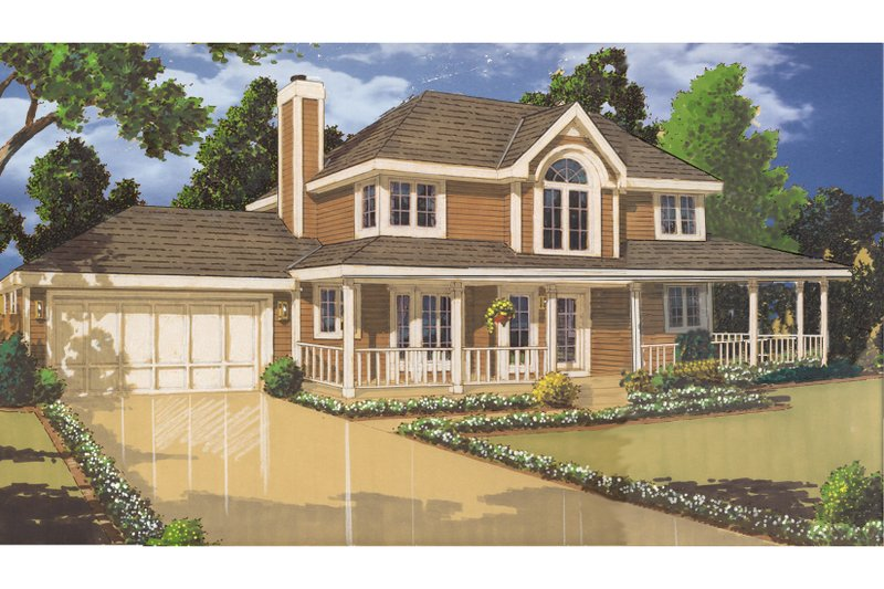 Country Exterior - Front Elevation Plan #3-123