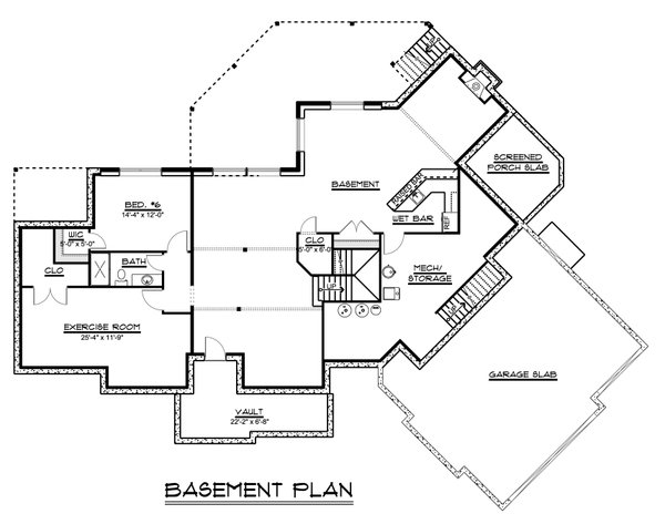 Home Plan - Craftsman Floor Plan - Lower Floor Plan #1064-120