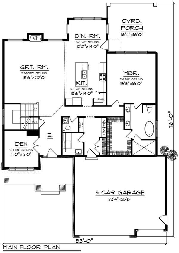 Modern Floor Plan - Main Floor Plan Plan #70-1429