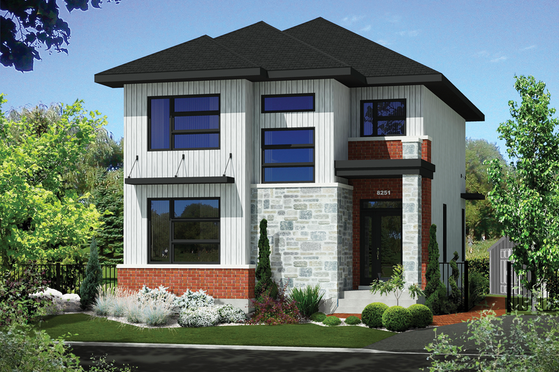 Contemporary Style House Plan - 3 Beds 1 Baths 1834 Sq/Ft Plan #25-4623 Exterior - Front Elevation