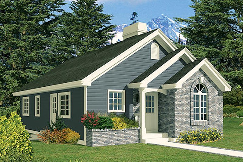 Ranch Style House Plan - 3 Beds 1 Baths 1112 Sq/Ft Plan #57-264 Exterior - Front Elevation