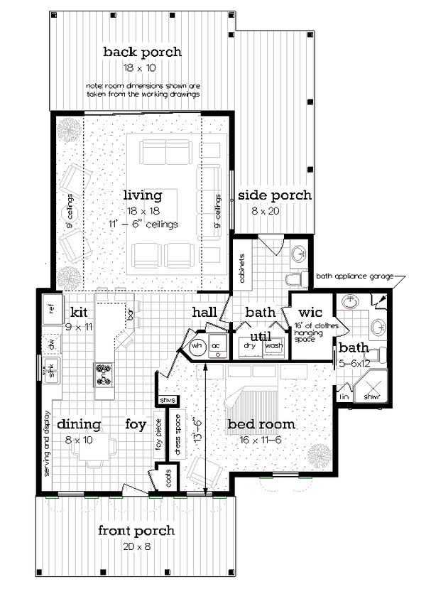 House Blueprint - Craftsman Floor Plan - Main Floor Plan #45-588
