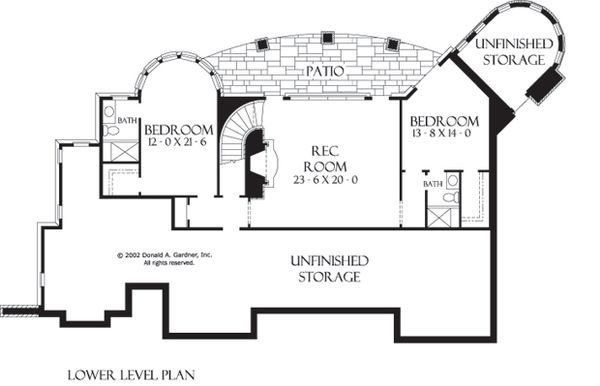 European Floor Plan - Lower Floor Plan Plan #929-929