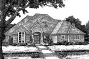 European Style House Plan - 4 Beds 3.5 Baths 3082 Sq/Ft Plan #310-916 Exterior - Front Elevation