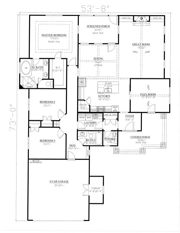 Dream House Plan - Craftsman Floor Plan - Main Floor Plan #437-113