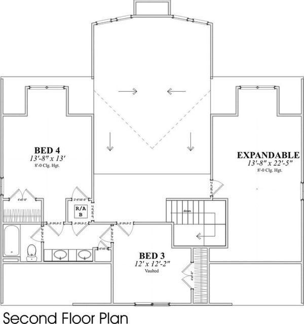 Contemporary Floor Plan - Upper Floor Plan Plan #63-215