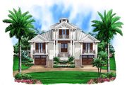 Beach Style House Plan - 5 Beds 5.5 Baths 9075 Sq/Ft Plan #27-456 Exterior - Front Elevation