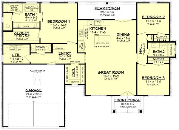 House Plan Design - Farmhouse Floor Plan - Main Floor Plan #430-246