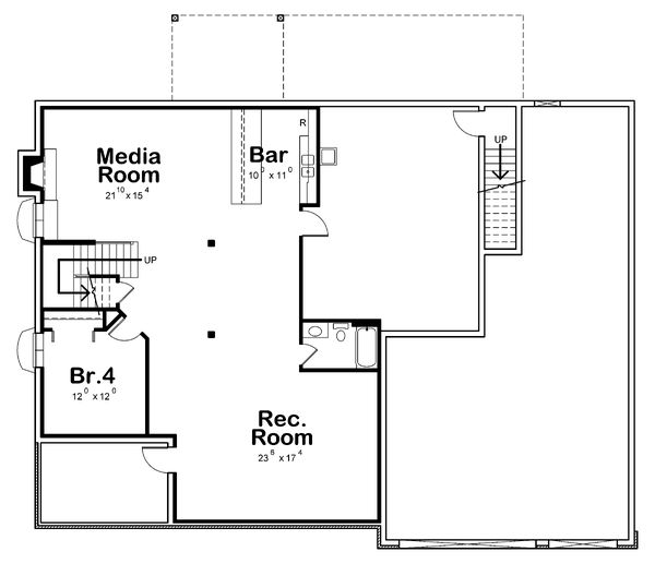 Dream House Plan - Traditional Floor Plan - Lower Floor Plan #20-2344