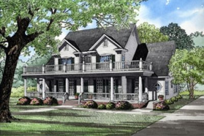 Country Style House Plan - 3 Beds 2.5 Baths 3706 Sq/Ft Plan #17-217 Exterior - Front Elevation