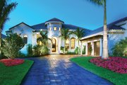 Mediterranean Style House Plan - 4 Beds 4.5 Baths 3790 Sq/Ft Plan #930-13 Exterior - Front Elevation
