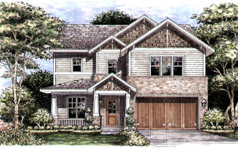 Craftsman Style House Plan - 4 Beds 3.5 Baths 3540 Sq/Ft Plan #141-342 Exterior - Front Elevation