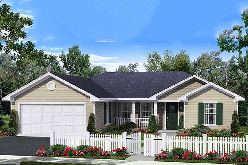 Ranch Exterior - Front Elevation Plan #21-327