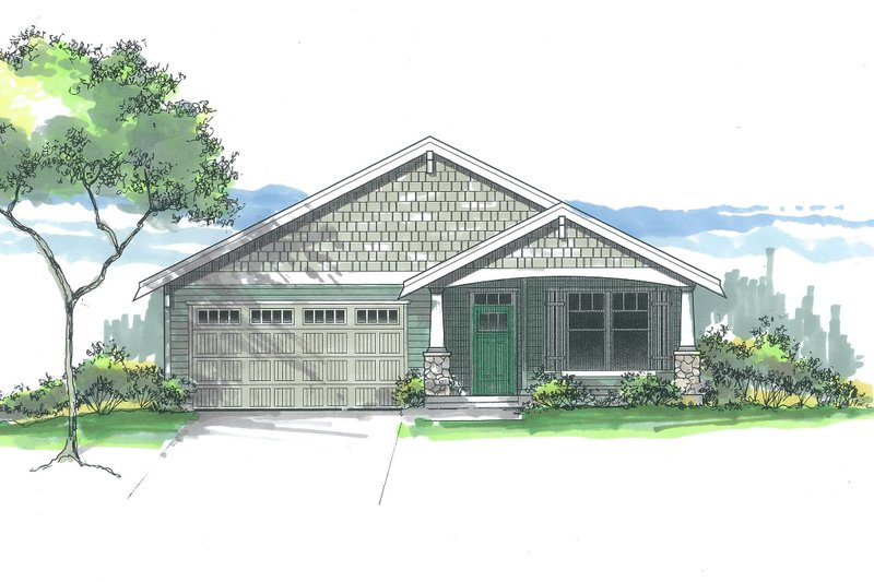 Craftsman Exterior - Front Elevation Plan #53-607