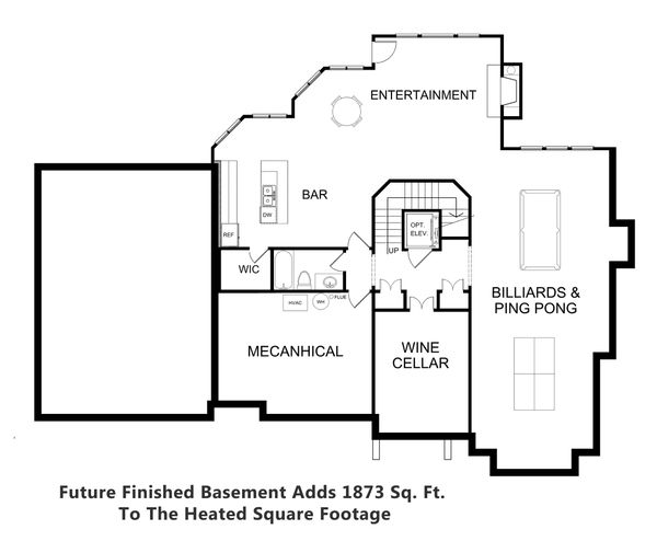 Traditional Style House Plan - 4 Beds 4.5 Baths 4156 Sq/Ft Plan #30-346 Floor Plan - Lower Floor Plan
