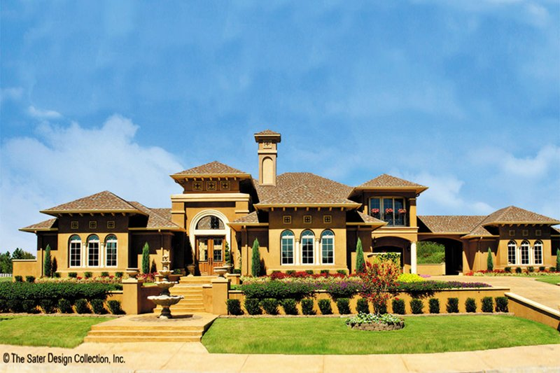 Mediterranean Style House Plan - 4 Beds 3.5 Baths 4151 Sq/Ft Plan #930-57 Exterior - Front Elevation