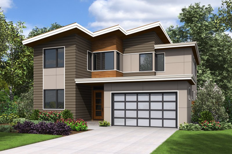 Contemporary Style House Plan - 4 Beds 2.5 Baths 2869 Sq/Ft Plan #48-676 Exterior - Front Elevation