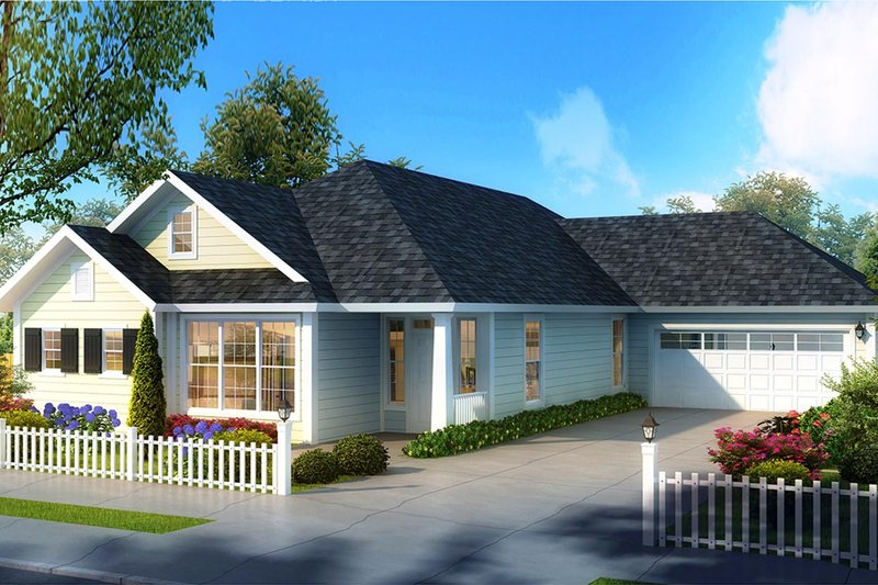 Ranch Style House Plan - 4 Beds 3 Baths 2062 Sq/Ft Plan #513-2178 Exterior - Front Elevation