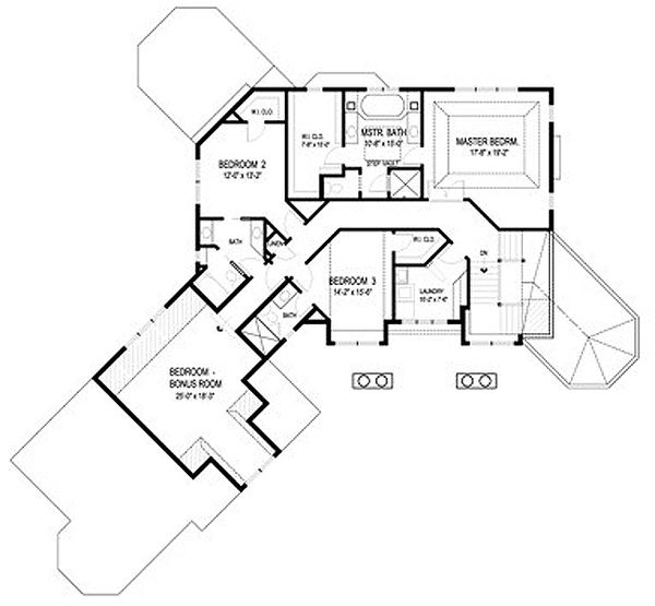 Traditional Floor Plan - Upper Floor Plan Plan #56-600