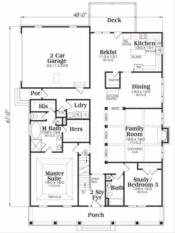 Craftsman Floor Plan - Main Floor Plan Plan #419-162