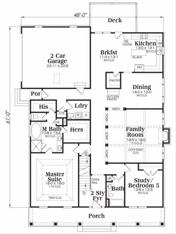 Dream House Plan - Craftsman Floor Plan - Main Floor Plan #419-162