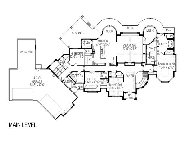 European Floor Plan - Main Floor Plan Plan #920-63