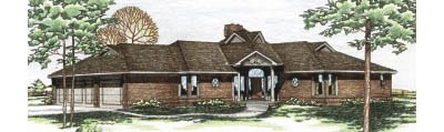 Traditional Style House Plan - 3 Beds 2.5 Baths 2133 Sq/Ft Plan #20-101 Exterior - Front Elevation