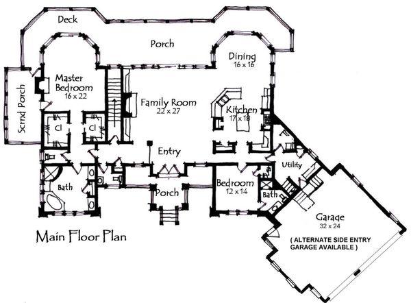 Craftsman Floor Plan - Main Floor Plan Plan #921-10