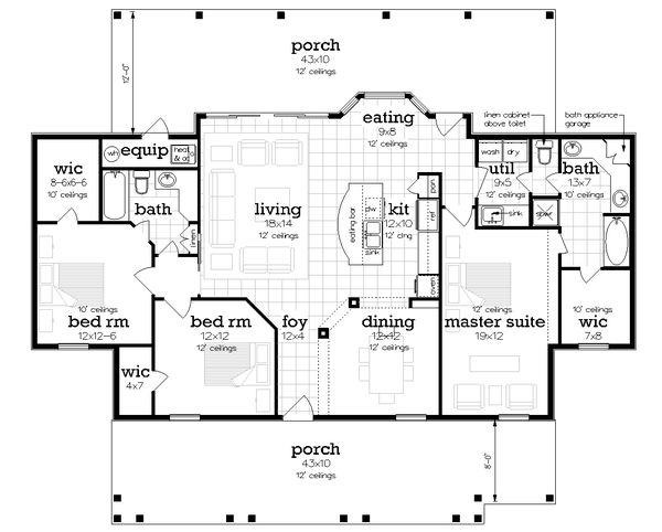 Home Plan - Farmhouse Floor Plan - Main Floor Plan #45-597
