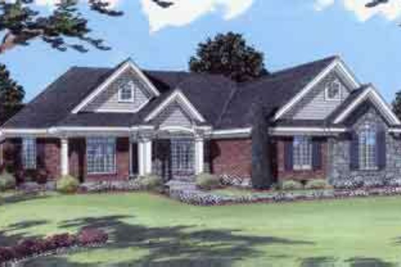 European Style House Plan - 3 Beds 2 Baths 2341 Sq/Ft Plan #46-352 Exterior - Front Elevation