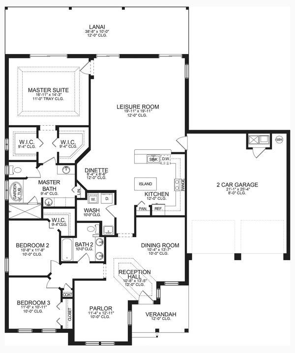 House Blueprint - Ranch Floor Plan - Main Floor Plan #1058-188