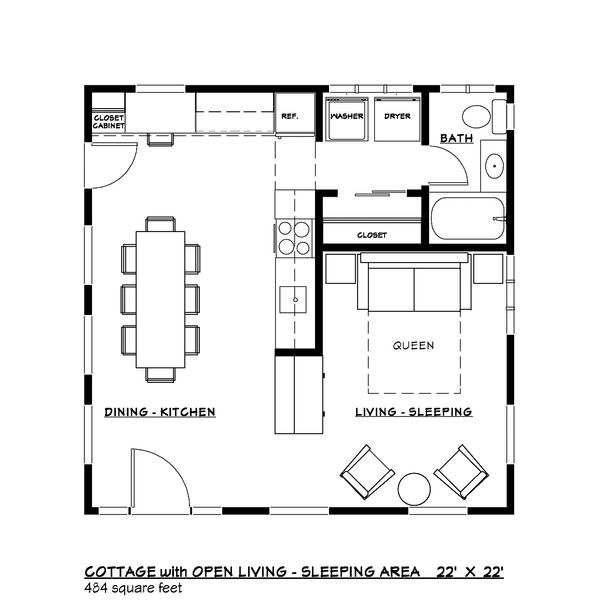 Colonial Style House Plan - 1 Beds 1 Baths 448 Sq/Ft Plan #917-33 Floor Plan - Main Floor Plan