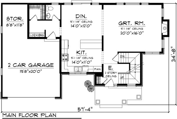 Craftsman Floor Plan - Main Floor Plan Plan #70-1132