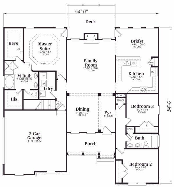 House Plan Design - Craftsman Floor Plan - Main Floor Plan #419-114