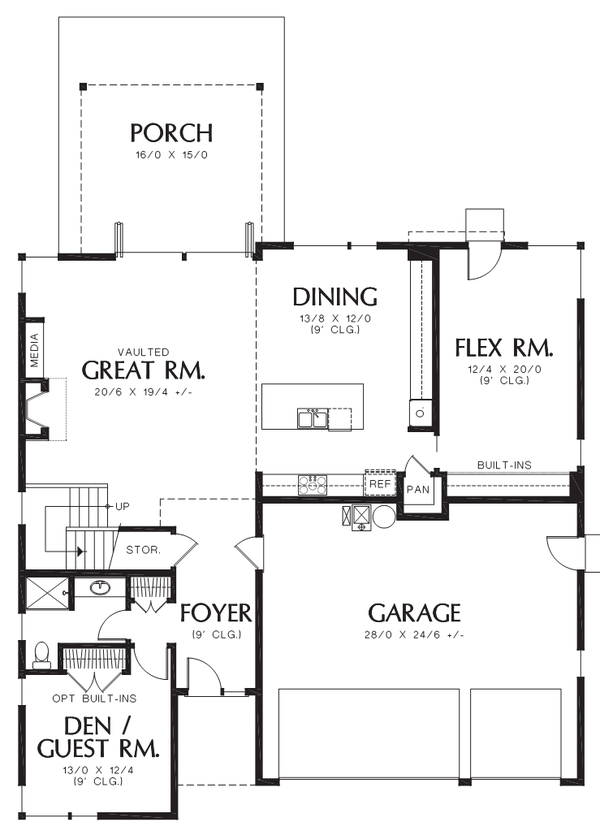 Contemporary Floor Plan - Main Floor Plan Plan #48-706