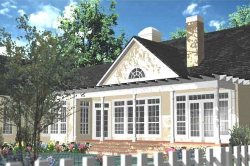 Southern Exterior - Rear Elevation Plan #406-280 - Houseplans.com