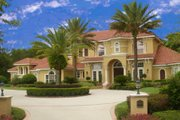 Mediterranean Style House Plan - 5 Beds 5.5 Baths 6211 Sq/Ft Plan #135-186 Exterior - Front Elevation