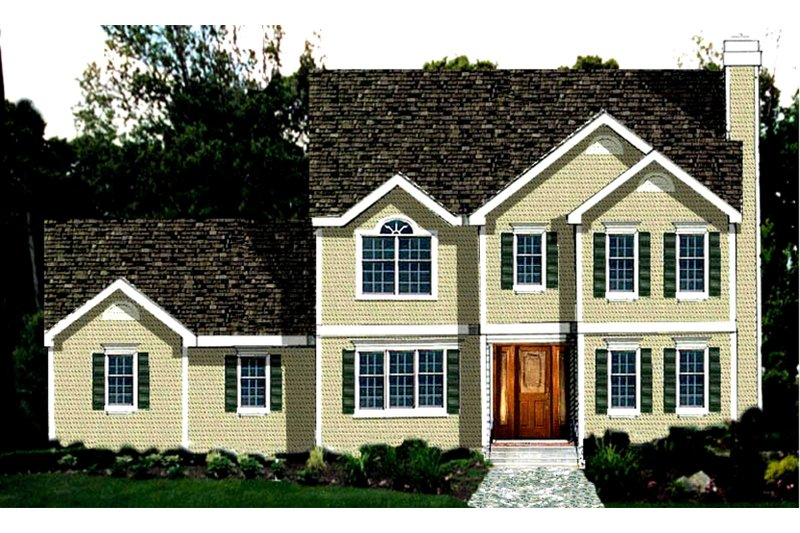 Colonial Exterior - Front Elevation Plan #3-158