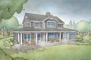 Cottage Style House Plan - 4 Beds 3.5 Baths 2740 Sq/Ft Plan #928-302 Exterior - Rear Elevation