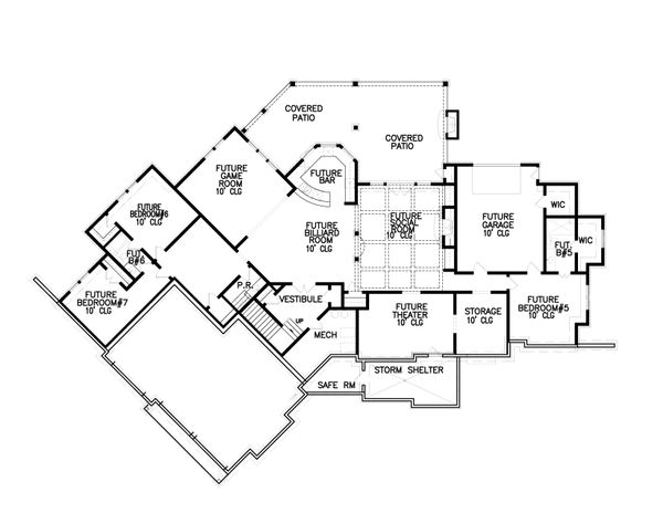 Craftsman Floor Plan - Lower Floor Plan Plan #54-385