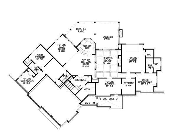 Craftsman Floor Plan - Lower Floor Plan #54-385