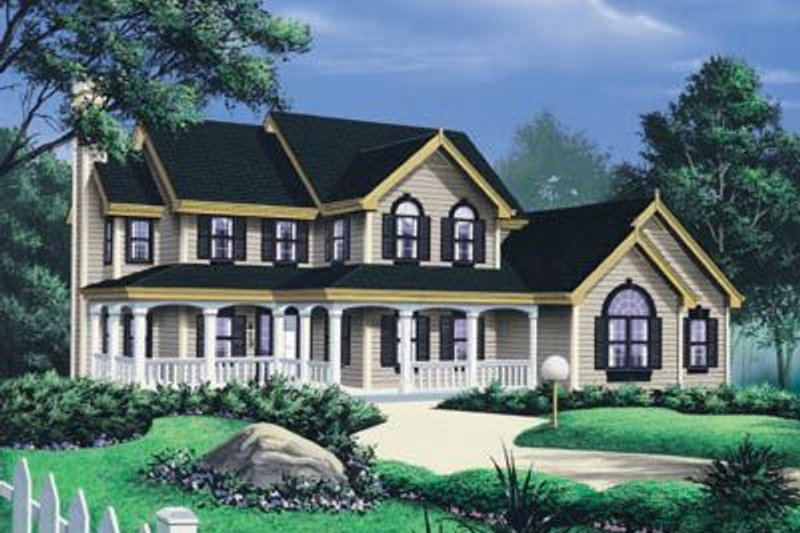 Country Exterior - Front Elevation Plan #57-132 - Houseplans.com