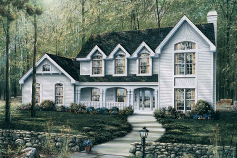 Country Style House Plan - 4 Beds 3.5 Baths 2967 Sq/Ft Plan #57-183 Exterior - Front Elevation