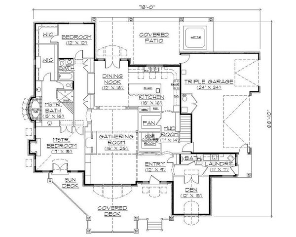 European Floor Plan - Main Floor Plan Plan #5-398